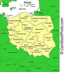 districts, administratif, entourer, pologne, pays