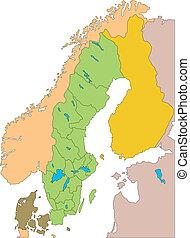 districts, administratif, entourer, suède, pays