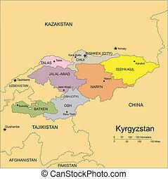 districts, capitaux, administratif, entourer, pays, kyrgystan