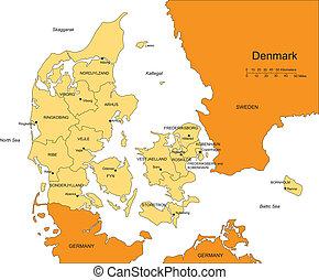 districts, danemark, administratif, entourer, pays