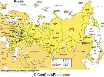 districts, entourer, administratif, russie, pays