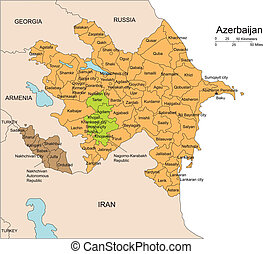districts, entourer, azerbijan, administratif, pays