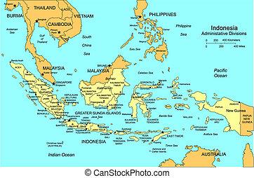 districts, entourer, indonésie, administratif, pays