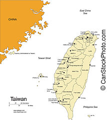 districts, entourer, taiwa, administratif, pays