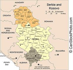districts, kosovo, serbie, capitaux, administratif, entourer, pays