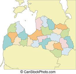districts, lettonie, administratif, entourer, pays