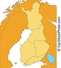 districts, pays, administratif, entourer, finlande