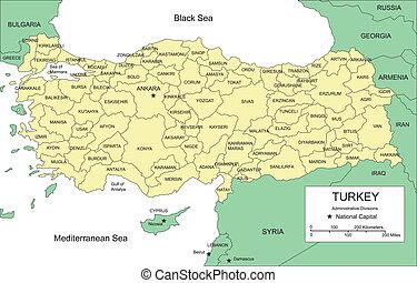 districts, turquie, administratif, entourer, pays