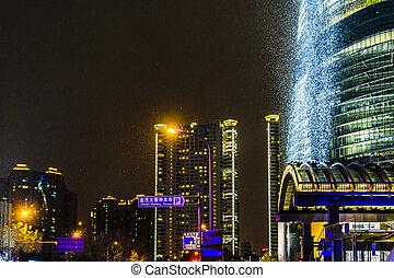 distrikt, lujiazui, shanghai, scene, kina, nigth