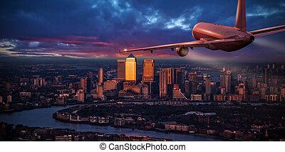 distrito negócio, voando, acima, jetliner, avião, london.