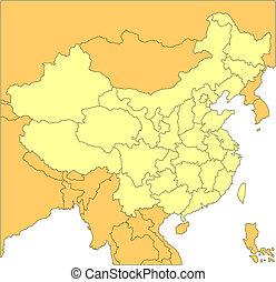 distritos, administrativo, china, circundante, países