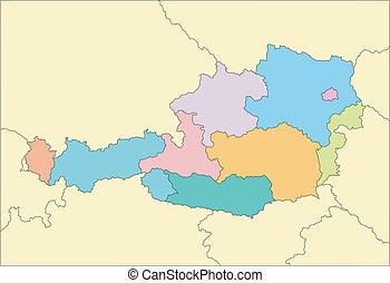 distritos, administrativo, circundante, austria, países