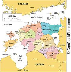 distritos, administrativo, circundante, países, estonia