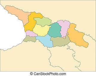 distritos, capitales, administrativo, georgia, país