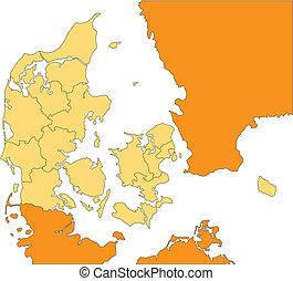 distritos, dinamarca, administrativo, circundante, países