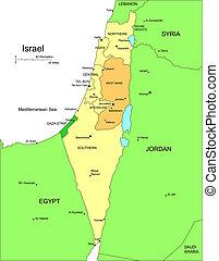 distritos, israel, administrativo, circundante, países