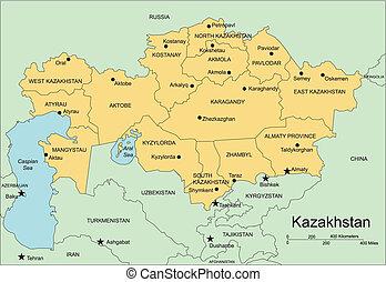 distritos, kazakhstan, capitais, administrativo, cercar, ...