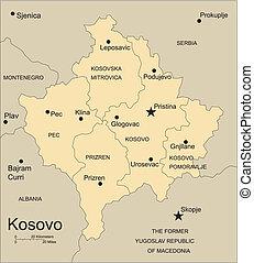 distritos, kosovo, capitais, administrativo, cercar, países