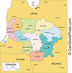 distritos, lituania, administrativo, circundante, países