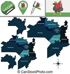 distritos, mapa, kazan