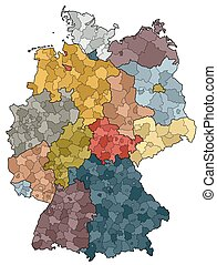 distritos, mapa, provincias, -, alemania