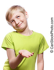 Distrust, doubt, skepticism - The boy smiles slyly, arm...