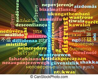 Distrust multilanguage wordcloud background concept glowing