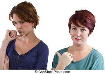 Distrusting Rivals - two Caucasian women arguing and ...