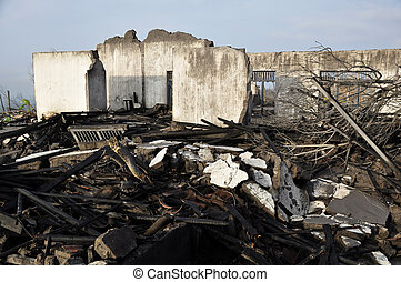 distrutto, case, disastro