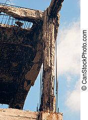 distrutto, costruzione, debris.
