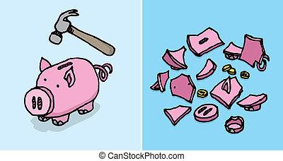 /, distrutto, risparmi, economico, piggy, depressione, banca
