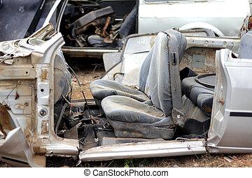 distrutto, vecchio, abbandonato, automobili