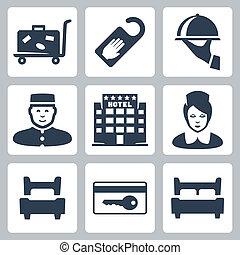 disturb', five-star, equipaje, señal, camarera, recepcionista, hotel, cama, cama, hotel, tarjeta, solo, vector, llave, doble, no, iconos, plato, carrito, set:, 'do
