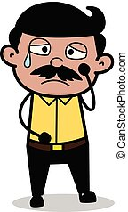 Disturbed - Indian Cartoon Man Father Vector Illustration