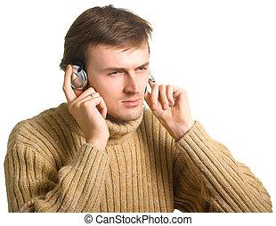 young men in headphones