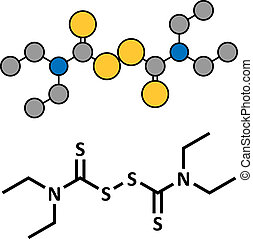 Disulfiram alcoholism treatment drug, chemical structure. Conventional skeletal formula and stylized representation, showing atoms (except hydrogen) as color coded circles.