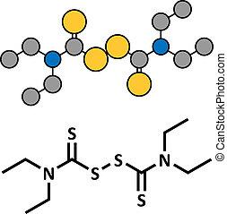 Disulfiram alcoholism treatment drug, chemical structure.