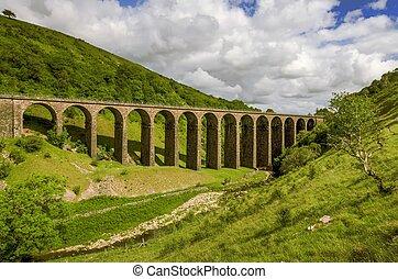 disused, ferrocarril, viaducto, smardale., vista