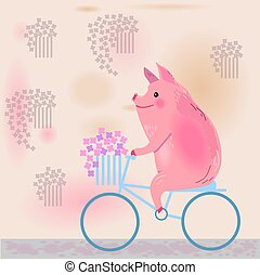 disznó, bicikli, noha, flowers., egy, disznó, és, egy, kosár, közül, flowers., vektor, illustration.