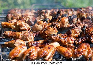 disznóhús, hús, grillsütő, csirke, sült, vagy