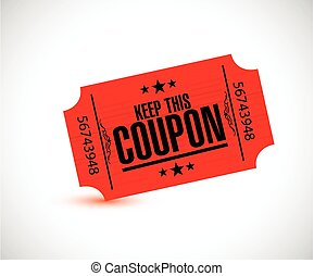dit, ticket, coupon., rood, bewaren