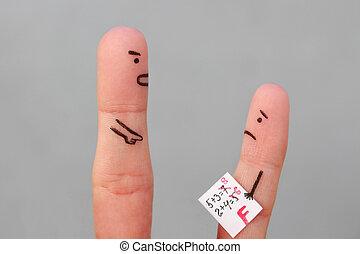 dita, arte, di, persone., concetto, di, ragazzo, prendere, uno, cattivo, grado, uomo, rimprovero, child.