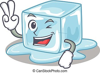 dita, cubo, carattere, cartone animato, smiley, due, mascotte, ghiaccio