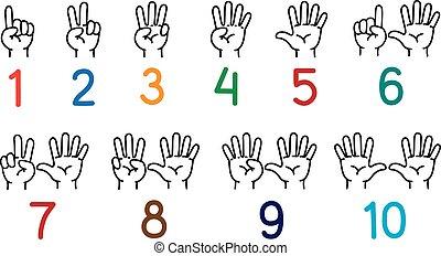 dita, mani, set, educazione, conteggio, icona