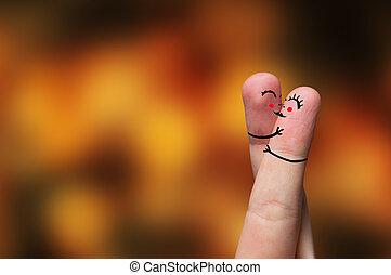 dito, abbraccio, su, giorno valentine, tema