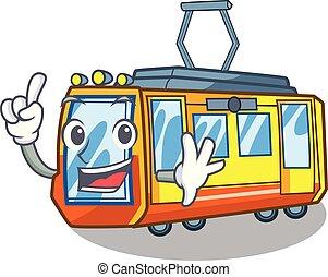 dito, miniatura, treno elettrico, in, cartone animato, forma