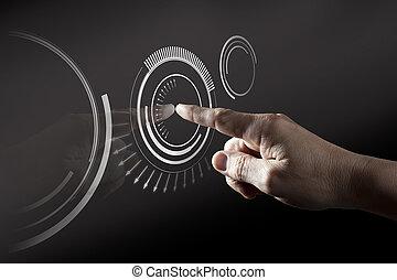 dito, toccante, digitale, schermo tocco
