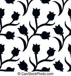 Ditsy floral pattern with black tulips on white