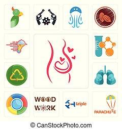ditta, carpenteria, icone, riutilizzare, paracadute, chimico, riciclare, set, triplo, polmoni, servizi, uce, ristorazione, gravidanza