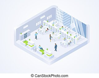 ditta, centro, ufficio, affari, coworking, interno